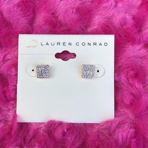 Lauren Conrad Goldtone Clea CZ Earrings NEW
